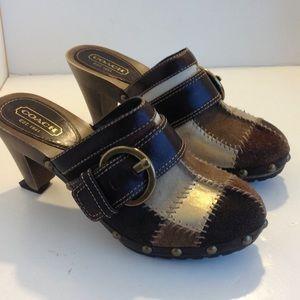 Coach leather heeled clogs
